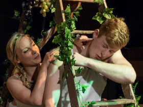 Catriona Mackenzie and Rafe Watts as Eve and Adam